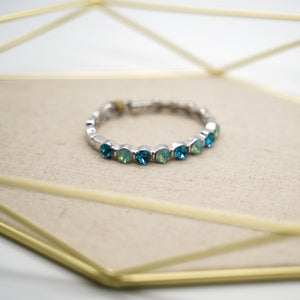 Blue Crystal Silver Bangle Bracelet - Catstone NYC