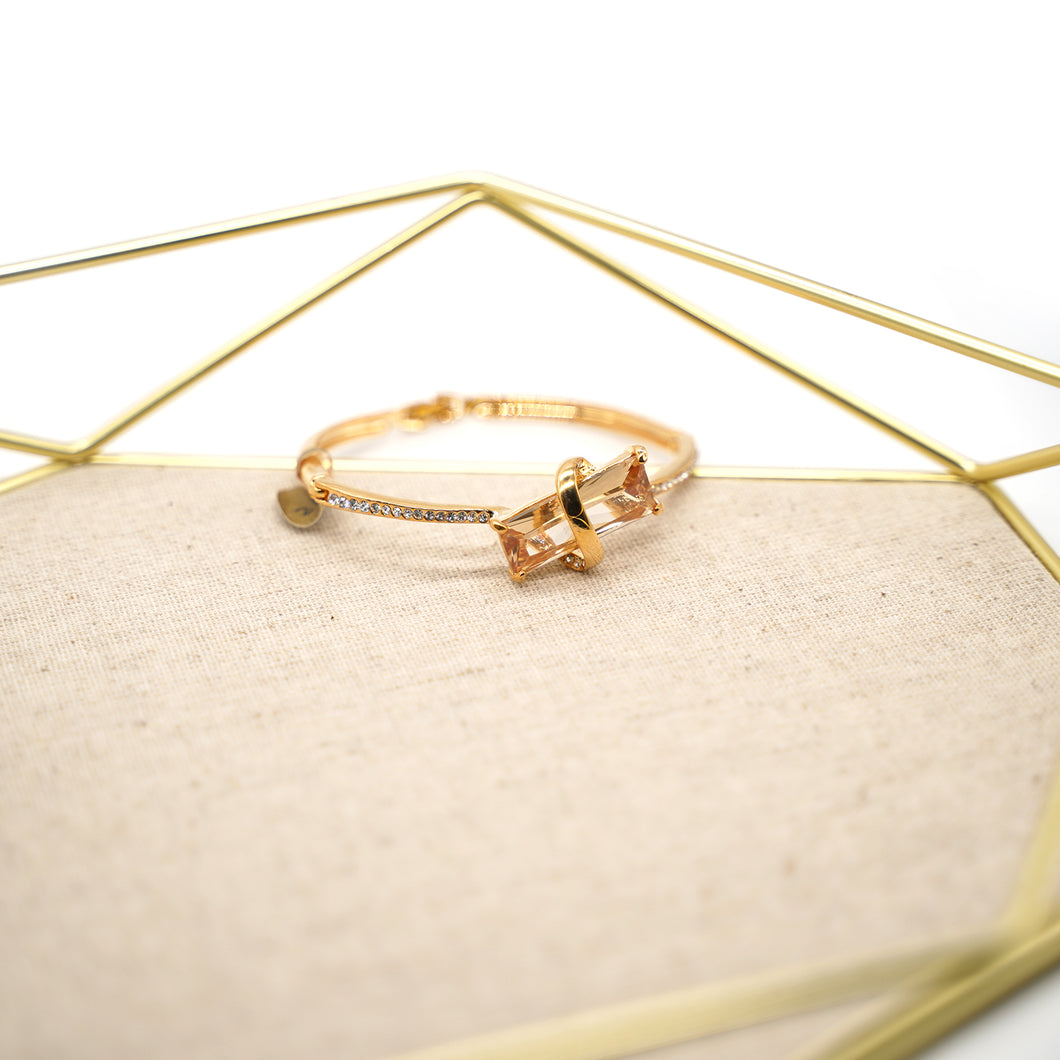 Gold Plated Rectangle Citrine Bracelet - Catstone NYC