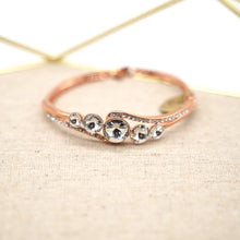 Load image into Gallery viewer, Rose Gold Plated White Crystal Bracelet - Catstone NYC
