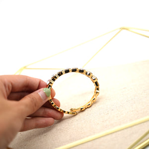 Gold Plated Bracelet with White Crystals - Catstone NYC
