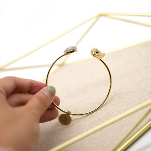 Gold Plated Cuff with Two White Crystals - Catstone NYC