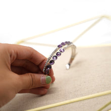 Load image into Gallery viewer, Purple Crystal Silver Cuff Bracelet - Catstone NYC