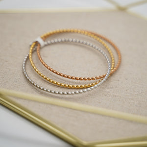 Tri color 3 stackable bangle bracelet - Catstone NYC
