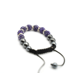 CatstoneNYC Purple Rhinestone Beads Bracelet for Women and Men