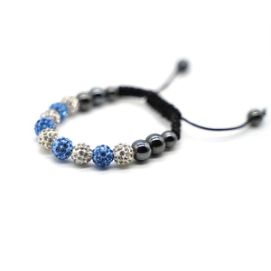 CatstoneNYC Blue and White Rhinestone Beads Bracelet for Women and Men - Catstone NYC