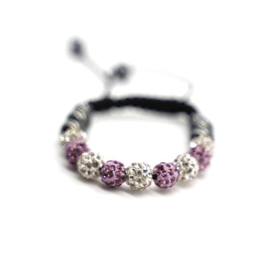 CatstoneNYC Pink and White Rhinestone Beads Bracelet for Women and Men