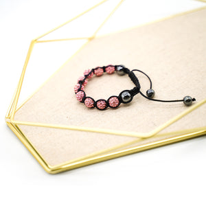 CatstoneNYC Pink Rhinestone Beads Bracelet for Women and Men