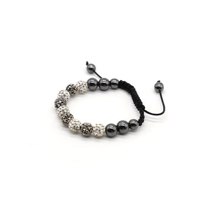 CatstoneNYC Black and White Rhinestone Beads Bracelet for Women and Men