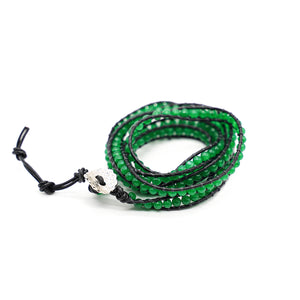 CatstoneNYC Green Beads Braided Wrap Bracelet for Women and Men - Catstone NYC