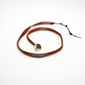 CatstoneNYC Red Beads Braided Wrap Bracelet for Women and Men