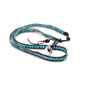 CatstoneNYC Blue Beads Braided Wrap Bracelet for Women and Men