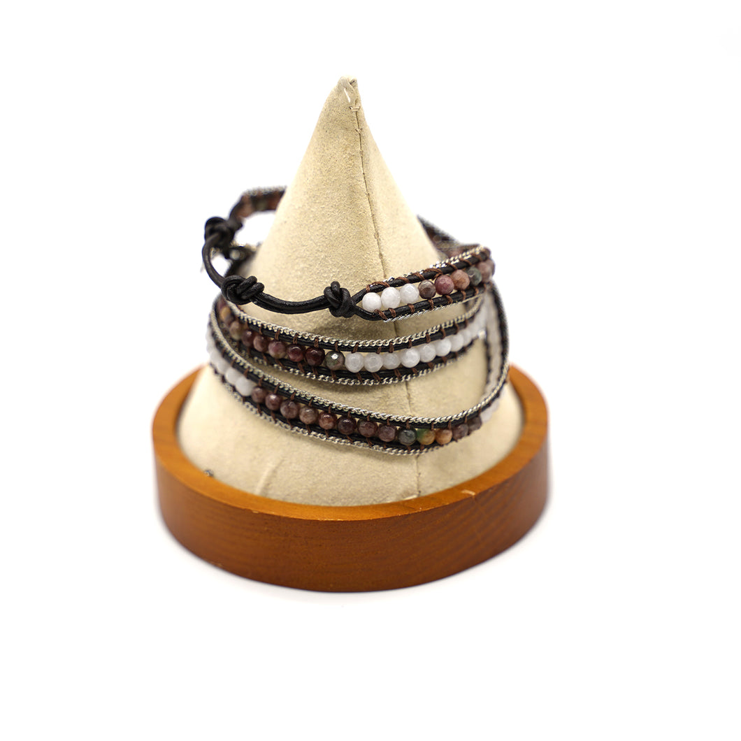 CatstoneNYC Brown and White Beads Braided Wrap Bracelet for Women and Men - Catstone NYC