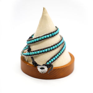 CatstoneNYC Turquoise Beads Braided Wrap Bracelet for Women and Men