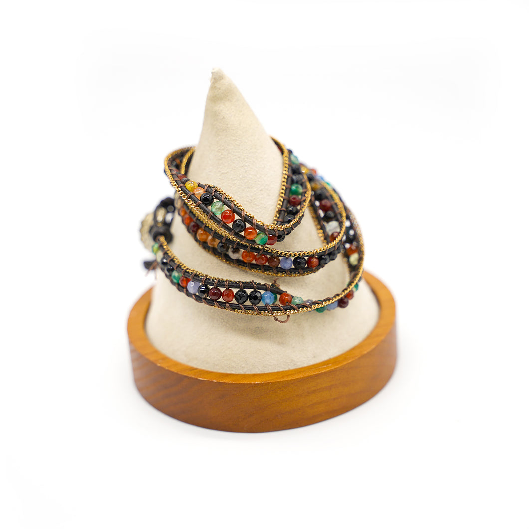 CatstoneNYC Rainbow Beads Braided Wrap Bracelet for Women and Men