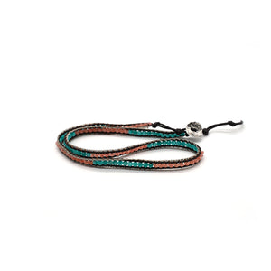 CatstoneNYC Blue and Pink Beads Braided Wrap Bracelet for Women and Men