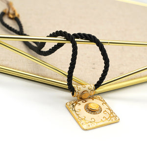 Yellow Cloisonne Black String Necklace - Catstone NYC