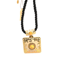 Load image into Gallery viewer, Yellow Cloisonne Black String Necklace - Catstone NYC
