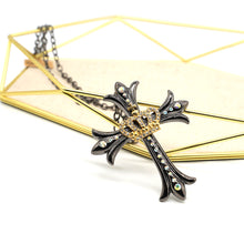 Load image into Gallery viewer, Crown and Cross Black Steel Necklace - Catstone NYC
