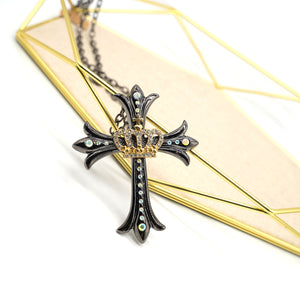 Crown and Cross Black Steel Necklace - Catstone NYC