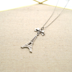 Eiffel Tower Pendant Silver Necklace - Catstone NYC