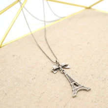 Load image into Gallery viewer, Eiffel Tower Pendant Silver Necklace - Catstone NYC