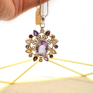 Amethyst Sun Pendant Silver Necklace - Catstone NYC