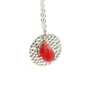 Red Bean Agate Pendant Silver Necklace - Catstone NYC