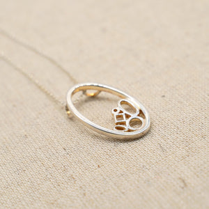 Silver Ellipse Pendant Necklace - Dainty - Catstone NYC
