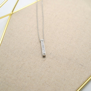 Crystal Stick Pendant Silver Necklace