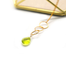 Load image into Gallery viewer, Dainty Green Crystal Pendant Necklace - Catstone NYC