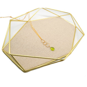 Dainty Green Crystal Pendant Necklace - Catstone NYC