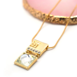 Gold Plated Square Rhinestone Necklace - Catstone NYC