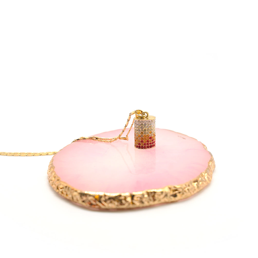 Tri-color pendant gold plated necklace - Catstone NYC