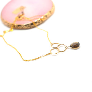 Smoky Quartz Bead Gold Plated Necklace - Catstone NYC