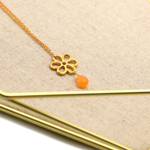 Gold Flower Citrine Pendant Necklace - Catstone NYC
