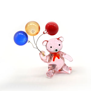Pink Glass Crystal Bear Figurine, decor - Catstone NYC
