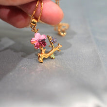 Load image into Gallery viewer, Pink Crystal Flower Pendant Necklace - Catstone NYC