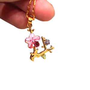 Pink Crystal Flower Pendant Necklace - Catstone NYC