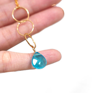 Blue Crystal Pendant Gold Plate Necklace - Catstone NYC