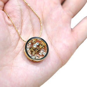 Brown Topaz Round Pendant Gold Necklace - Catstone NYC