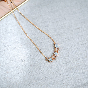 Topaz Stars Pendant Gold Plated Necklace - Catstone NYC