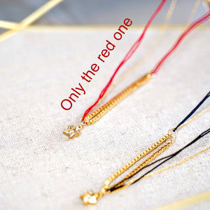 Red String Gold Star Pendant Necklace - Catstone NYC
