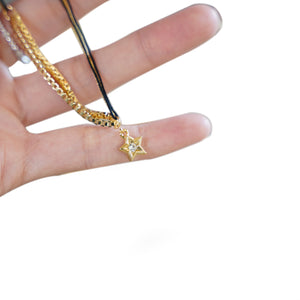 Black String Gold Star Pendant Necklace - Catstone NYC