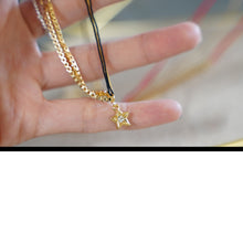 Load image into Gallery viewer, Black String Gold Star Pendant Necklace - Catstone NYC
