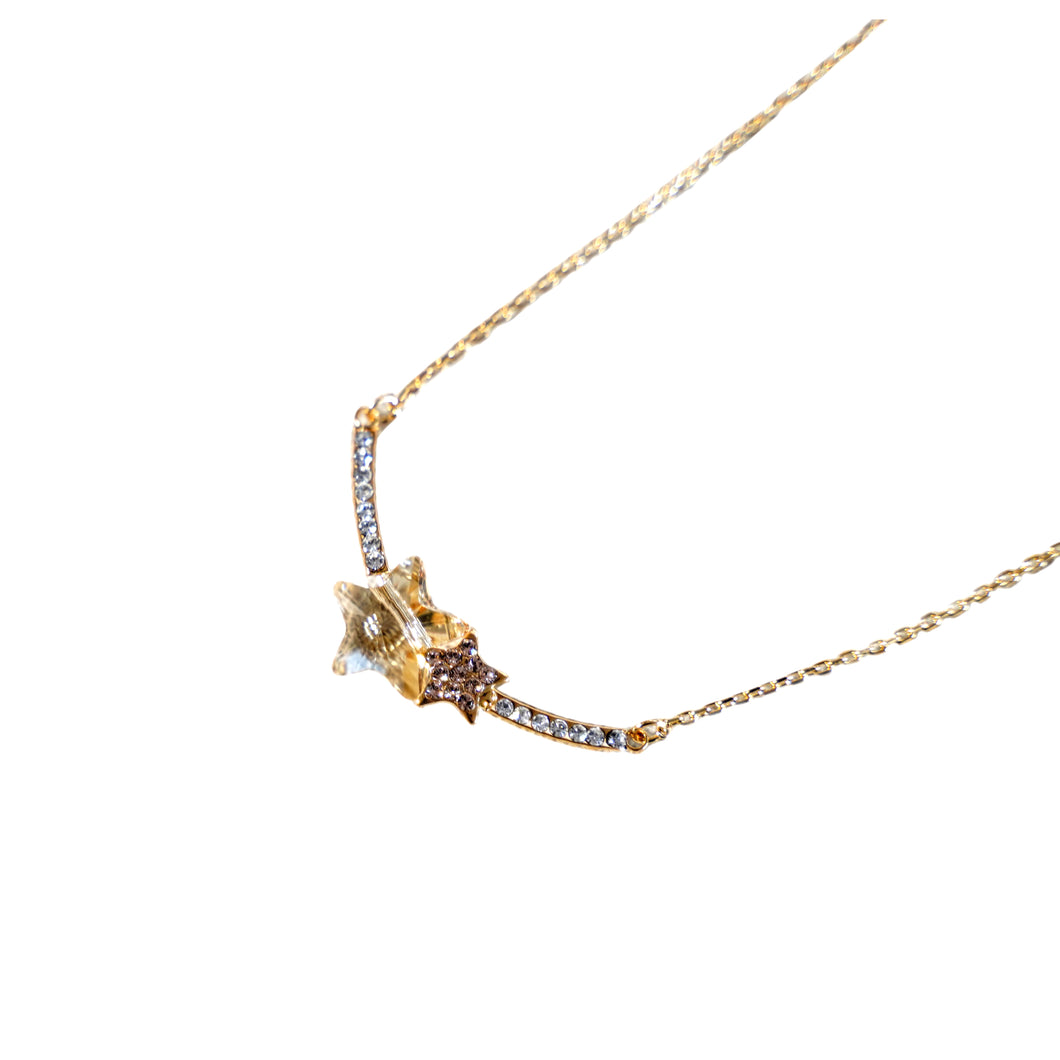Brown Topaz Stars Pendant Gold Necklace - Catstone NYC