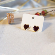 "Load image into Gallery viewer, ""Love You"" Red Heart Stud Earrings - Catstone NYC"