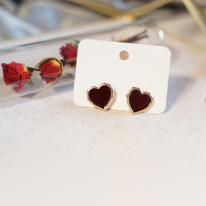 """Love You"" Red Heart Stud Earrings - Catstone NYC"