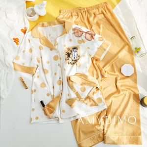 Cartoon Polka Dot Satin Pajama Set - Catstone NYC