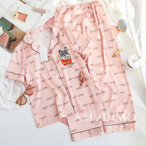 Satin Silk Dog Print Pajama Set - Catstone NYC