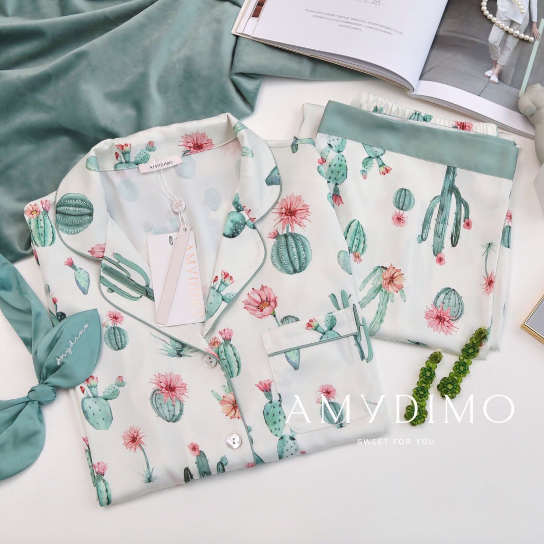 Satin Cactus Print Pajama Set of Three - Catstone NYC